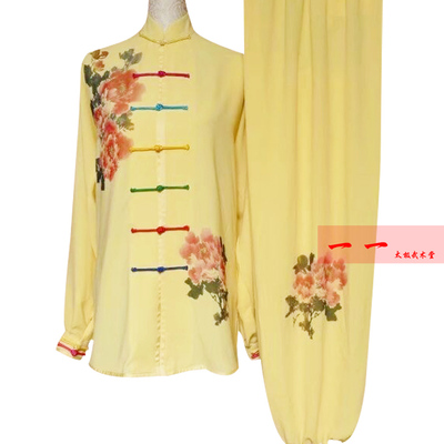 Martial Arts Clothes  Kungfu clothes Starlight Ma Taiji Garment Painted Peony Flower Taijiquan Competition Costume Long Sleeve Women Costume Group