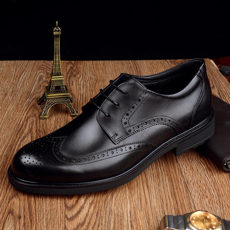 金利来男鞋18冬款棉鞋加绒保暖商务正装雕花布洛克皮鞋202840167