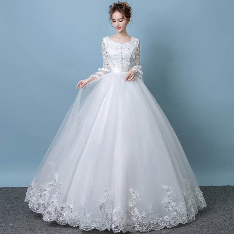 d0f05410e2c Hepburn wedding dress 2019 new spring bride married a word shoulder  pregnant women long-sleeved Qi Princess large size female