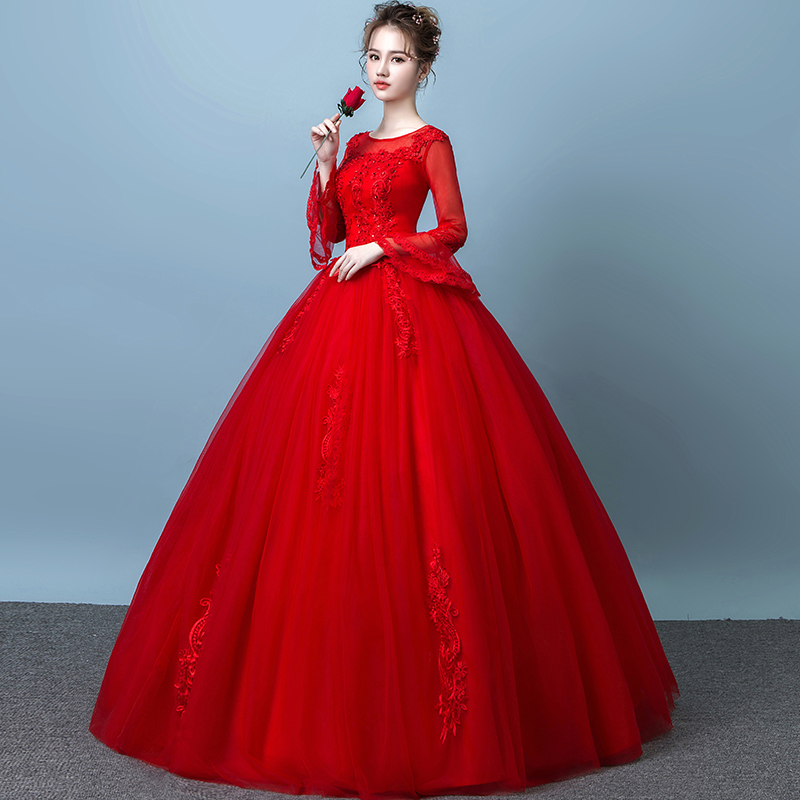 a1397728cce33 ... Red wedding dress 2018 new bride married Korean version of the  long-sleeved princess simple ...