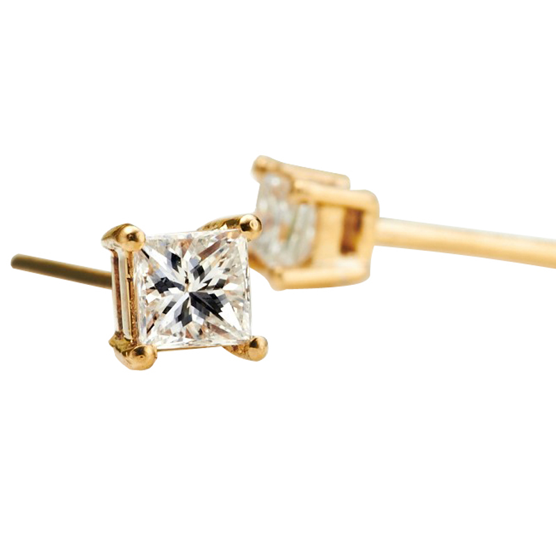 stud yellow flower gold shaped halo genuine earring quad diamond