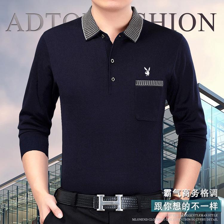 Mùa xuân trung niên của nam giới dài tay T-shirt bông ve áo người đàn ông trung niên của cha mỏng phần t-shirt daddy áo thun nam tay dài