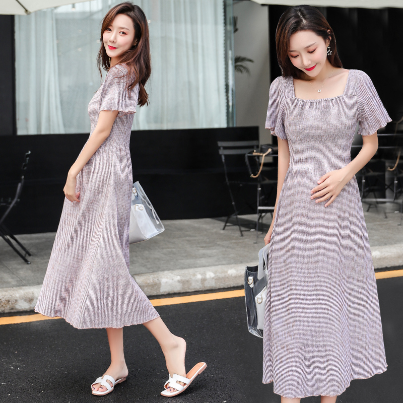 159a9374f672 Short-sleeved pregnancy pregnant women skirt summer fashion temperament  Korean version of the large size tide mother dress long pregnant mother  dress
