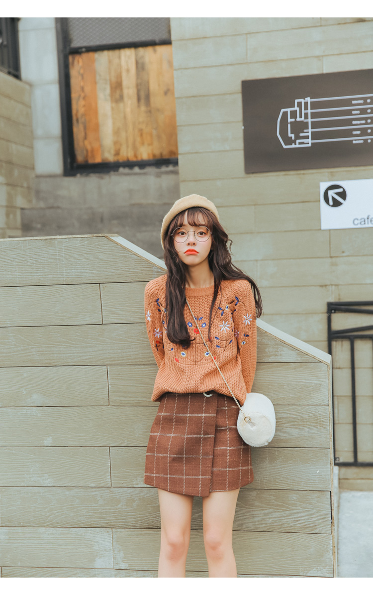 19 Women'S Ulzzang Autumn And Winter Harajuku Thickened Woolen Plaid Retro Skirt Female Cute Japanese Kawaii Skirts For Women 8