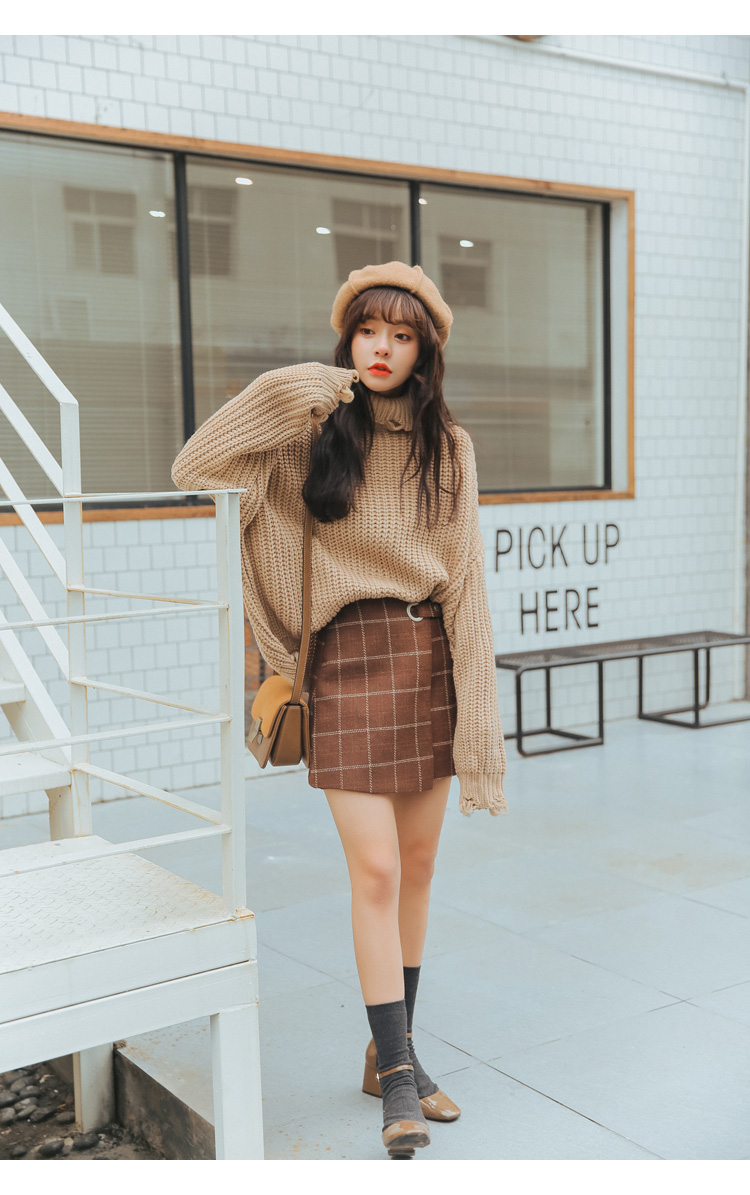 19 Women'S Ulzzang Autumn And Winter Harajuku Thickened Woolen Plaid Retro Skirt Female Cute Japanese Kawaii Skirts For Women 2
