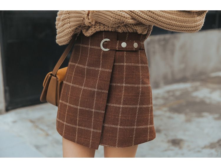 19 Women'S Ulzzang Autumn And Winter Harajuku Thickened Woolen Plaid Retro Skirt Female Cute Japanese Kawaii Skirts For Women 19