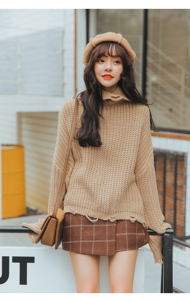 19 Women'S Ulzzang Autumn And Winter Harajuku Thickened Woolen Plaid Retro Skirt Female Cute Japanese Kawaii Skirts For Women 24