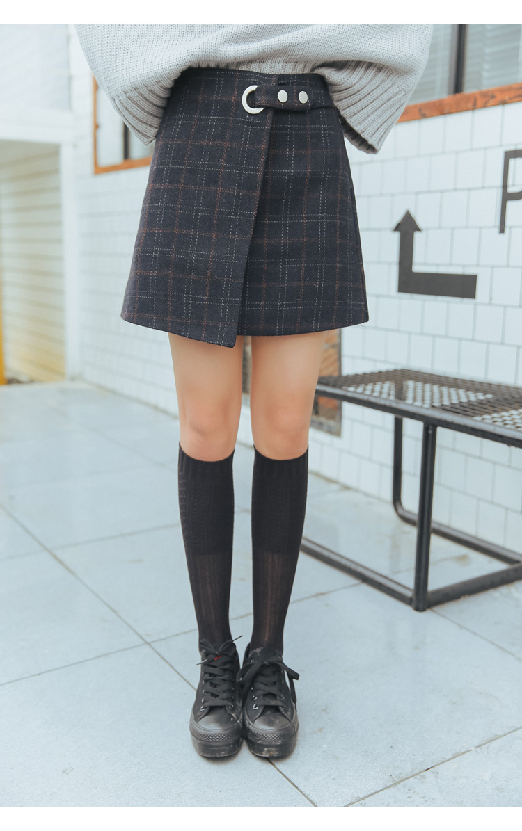 19 Women'S Ulzzang Autumn And Winter Harajuku Thickened Woolen Plaid Retro Skirt Female Cute Japanese Kawaii Skirts For Women 39