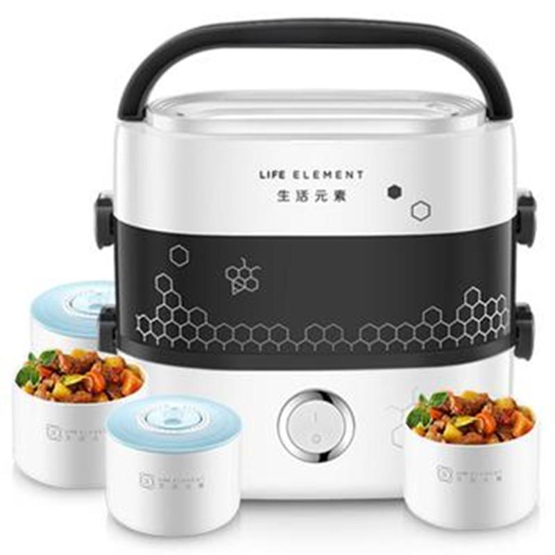 生活元素陶瓷电热饭盒保温可插电加热自动带饭神器蒸煮热饭上班族(用10元券)