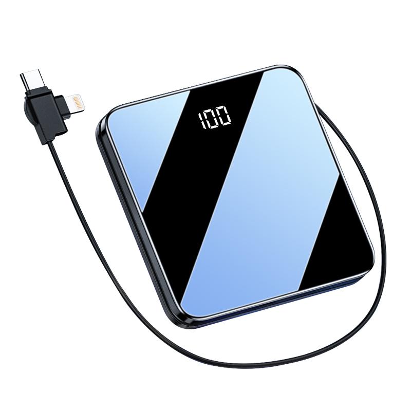 新品大容量自带线充电宝20000毫安三合一超薄小巧便携迷你快充移动电源 小米华为苹果手机专用1000000超大量
