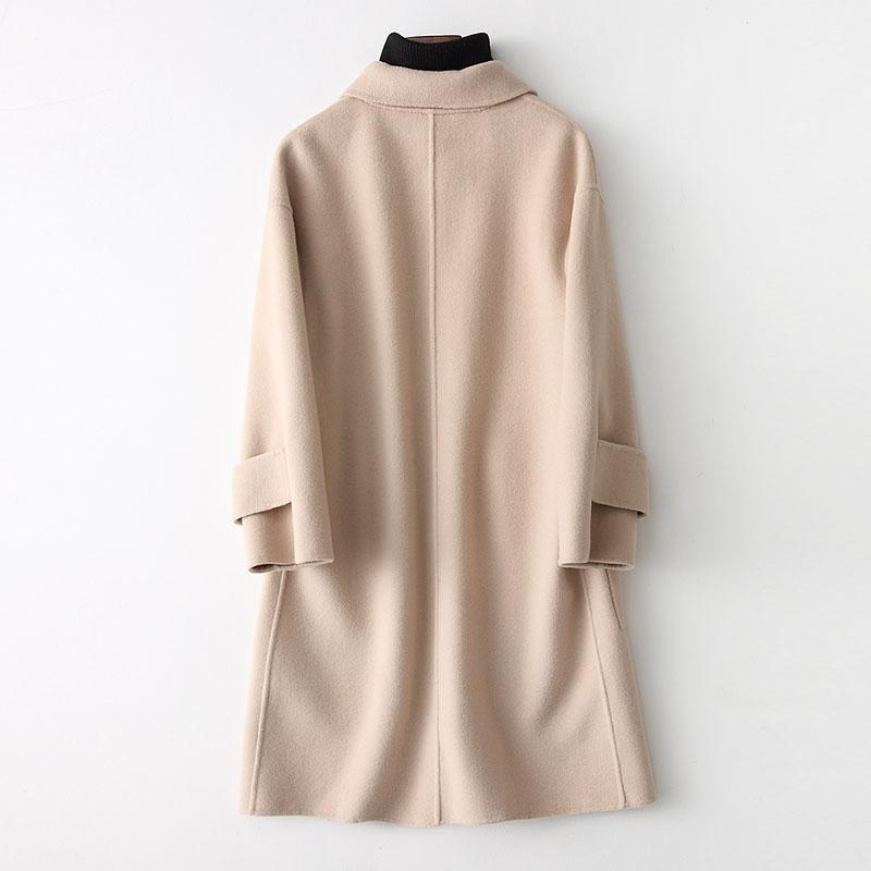 咔 琦 娜 2018 đầu mùa xuân mới áo len nữ hai mặt đơn giản màu áo len màu len trong phần dài