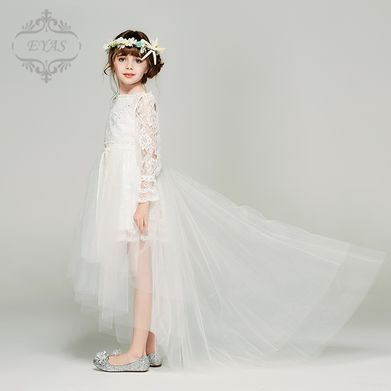 505db76bc1e02 Children's dress princess dress girl yarn skirt lace flower girl bridesmaid  wedding dress long sleeve baby birthday costume White