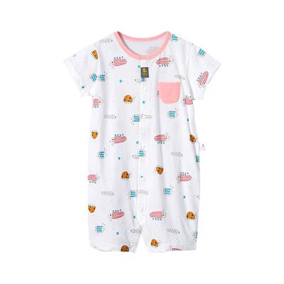 安吉小羊新生婴儿连体衣夏季新款薄款洋气家居男女宝宝短袖哈衣