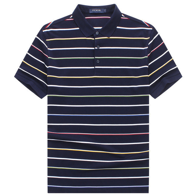 38afe2d9f34 Youngor youngor men s business mercerized cotton Polo striped business  casual short-sleeved men s T-shirt male 8579