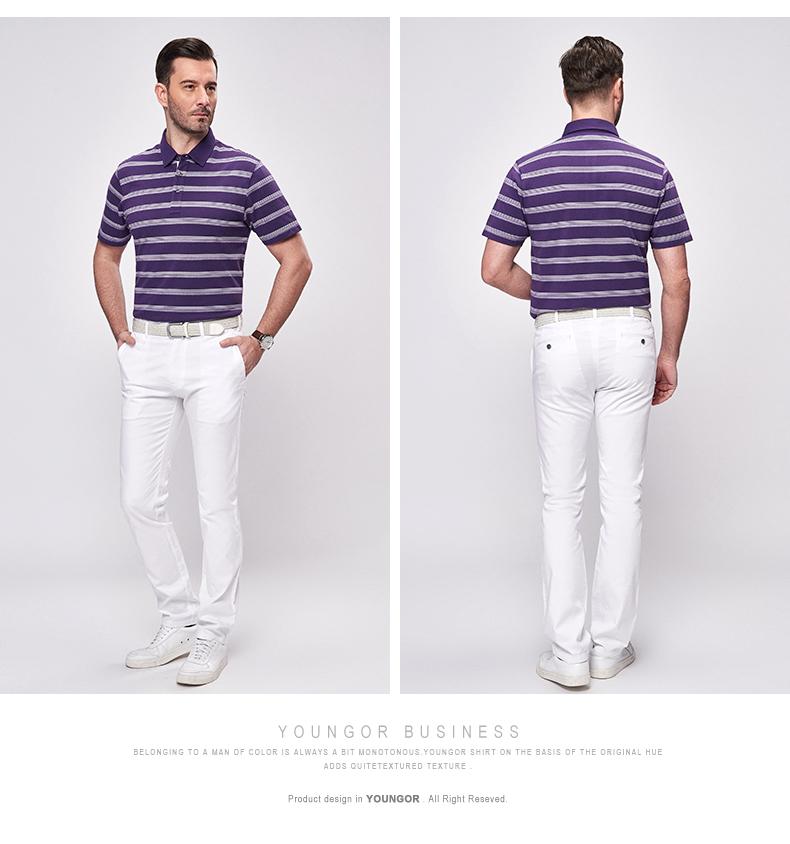 Youngor Youngor mùa hè của nam giới sọc áo thun bông kinh doanh bình thường ngắn tay áo T-Shirt 4991 áo thun có cổ nam