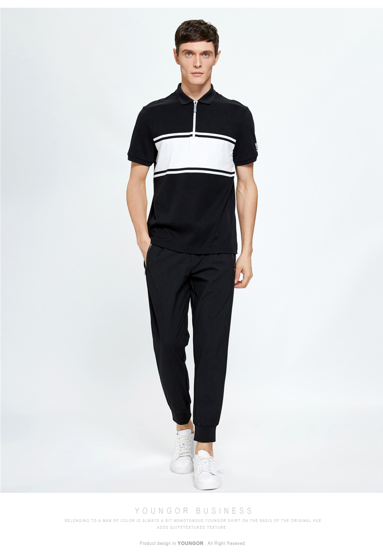 Youngor Youngor Mùa hè của nam giới kinh doanh bình thường POLO ngắn tay áo của nam giới đồng bằng bông T-Shirt nam 8591 áo polo dài tay