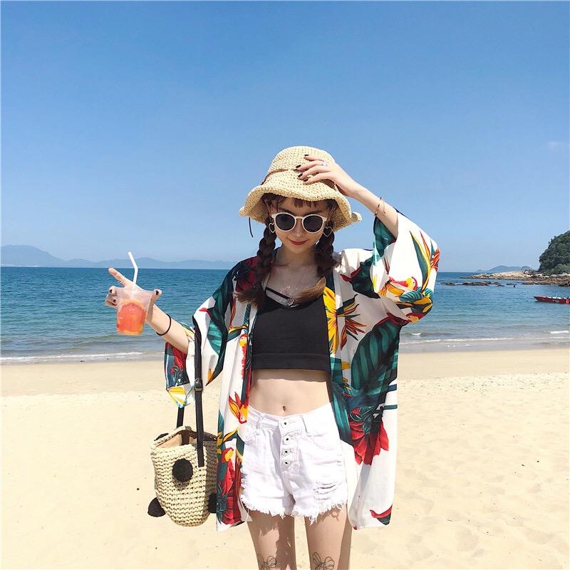 BEAUTY AMIU·海邊防曬衣女沙灘防曬衫夏季外搭開衫上衣外套海灘度假衣服女泰國