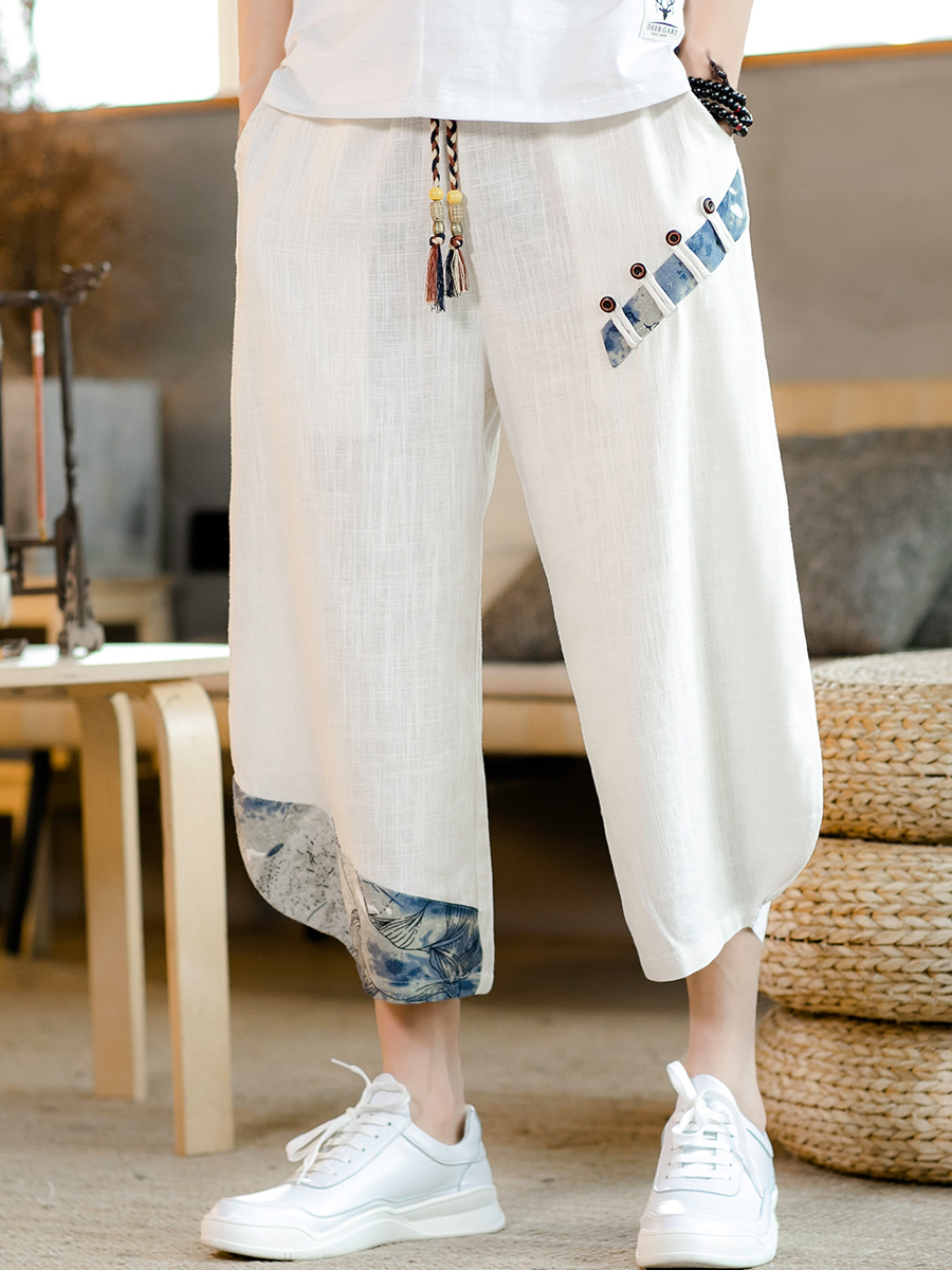 Summer Chinese style Tang dress linen casual pants suit men's retro hanfu harem pants thin men's shorts seven pants