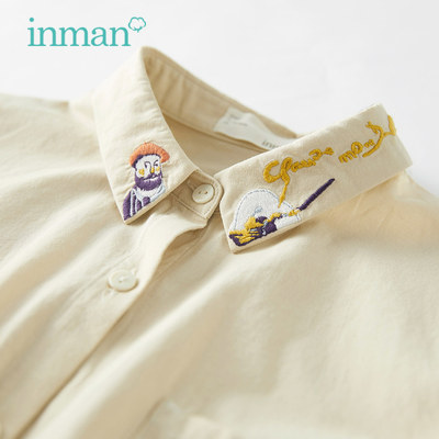 Inman 2021 spring new shirt female literary fan cotton shirt short embroidered upper long sleeve bottoming shirt