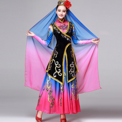 Folk Dance Costumes Hui ethnic dance performance Costume Dance Jiuzhou huaermei ethnic minority performance dress female