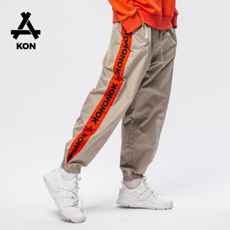 KON2018秋季新款青年男士运动裤个性潮流束脚裤子男宽松休闲长裤