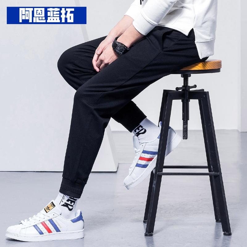 【秒杀】休闲裤男修身韩版潮流裤子黑色v潮流长小脚秋季束脚裤