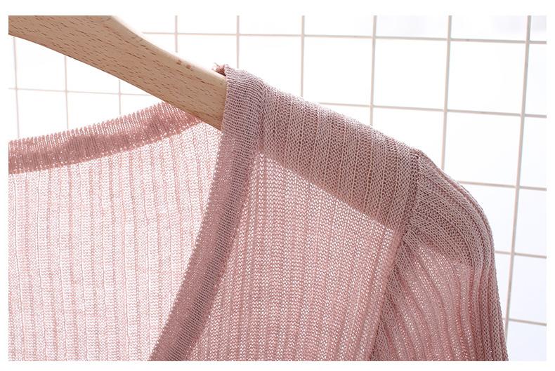 夏季新款短款七分袖外搭冰丝针织开衫女薄款披肩外套空调衫防晒衣详细照片