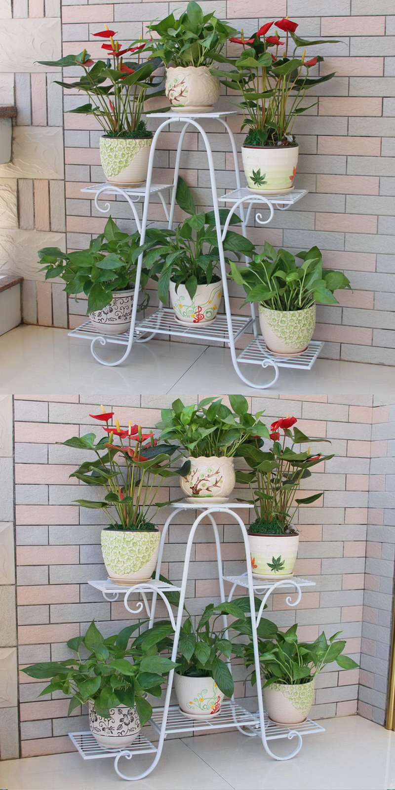 6 Tier Metal Plant Stand Shelf Foldable Screen White