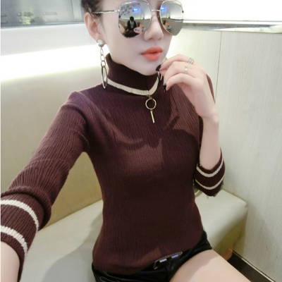 High-necked sweater 2017 autumn and winter new Korean thickening long-sleeved Slim wild knit sweater shirt
