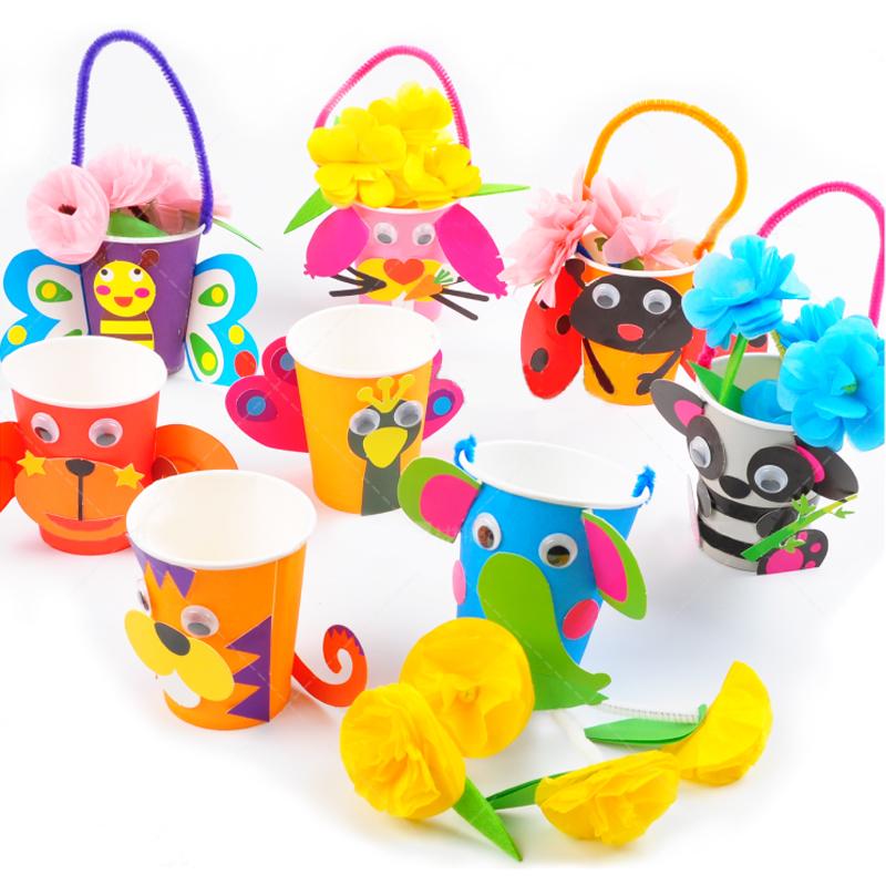 小動物花籃感恩節禮物 彩色紙杯早教手工diy親子材料幼兒園童玩具_7折圖片
