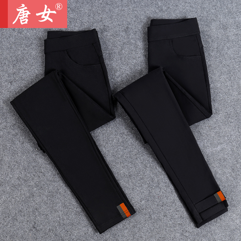 2018 Spring and Autumn New Plus velvet Thick leggings Waichuan Skinny Feet Pencil pants Black Thin section Large yard