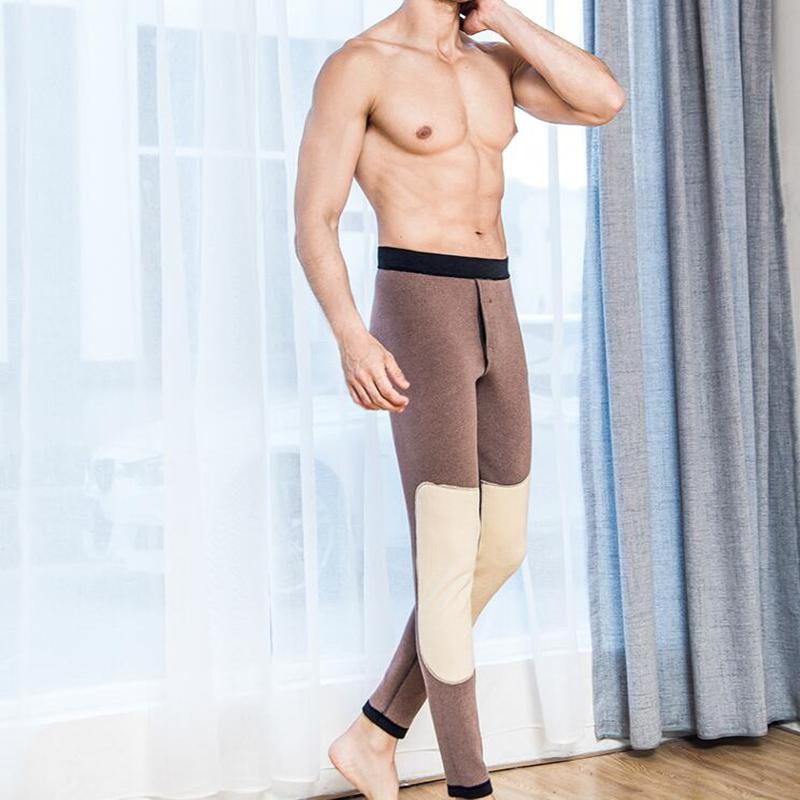 秋冬款男士保暖裤内穿中腰紧修身加绒加厚羊毛护膝秋裤厚薄男棉裤