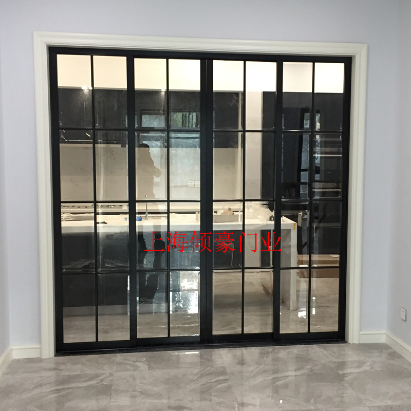 Shanghai Black Lattice Kitchen Sliding Door Living Room Balcony