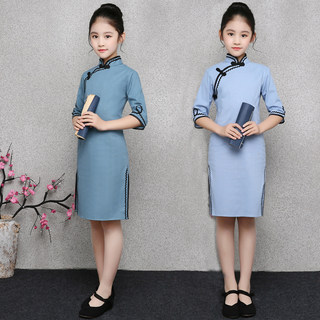Children's costume Chinese wind improved cheongsam girls baby clothes zither performances cotton wind Republic of students loaded thin section