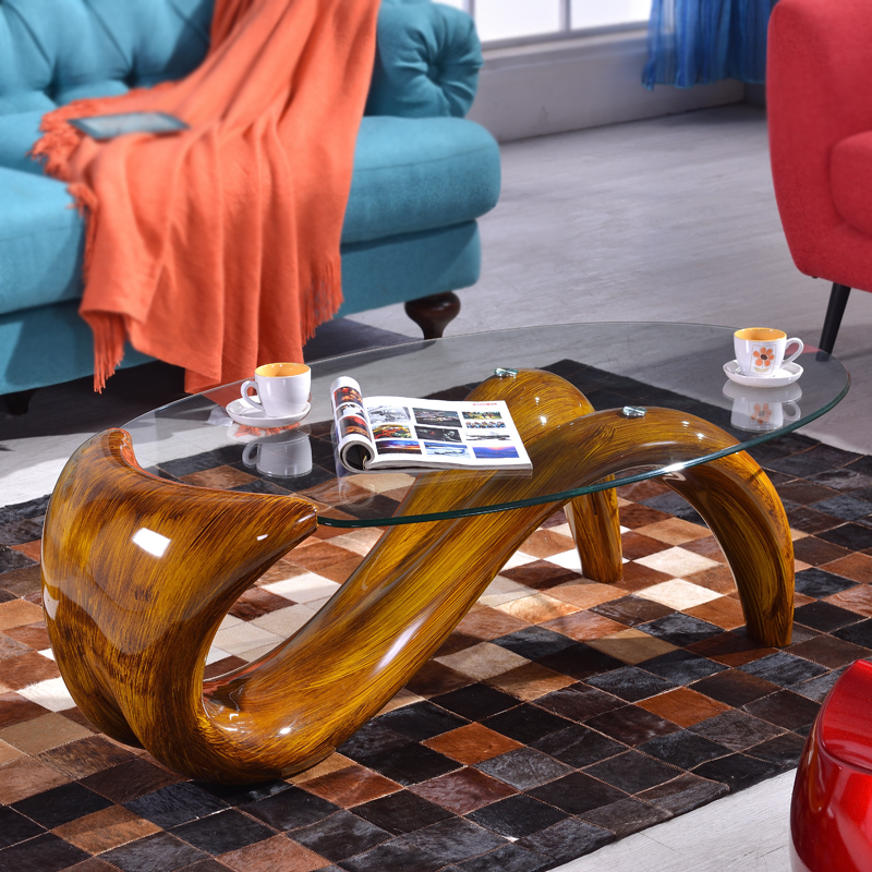 Creative personality tea table contracted modern mermaid tempered glass tea table fashion oval small family table