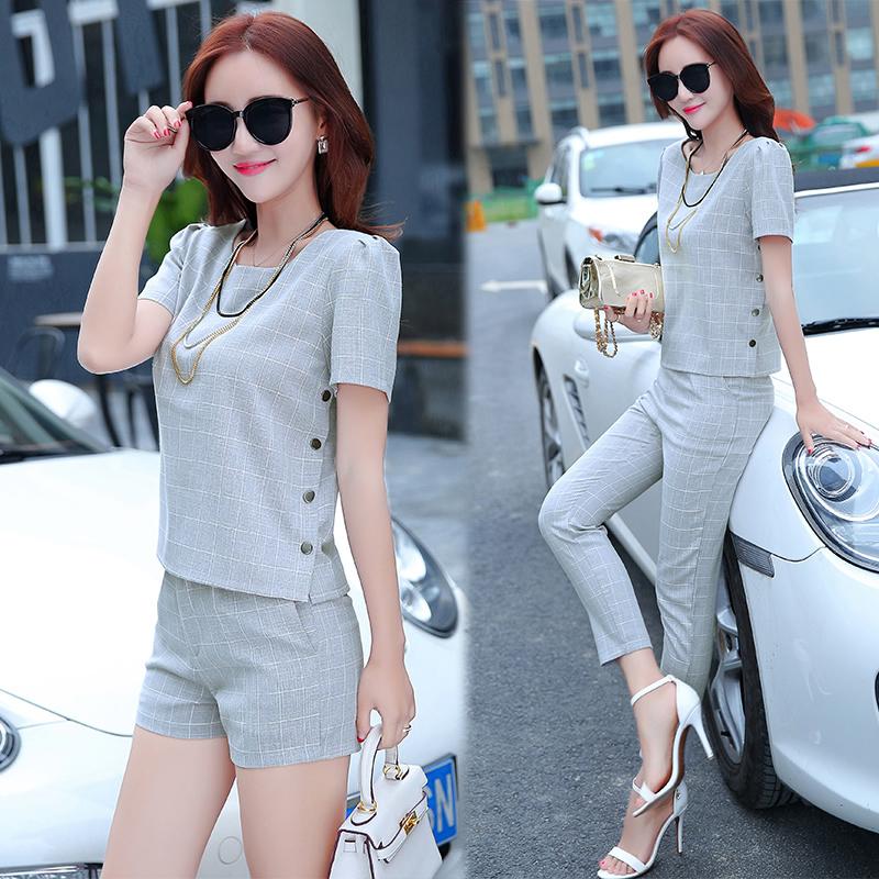 2018夏季新款短裤两件套夏天气质短袖韩版时尚社会套装女装夏装潮