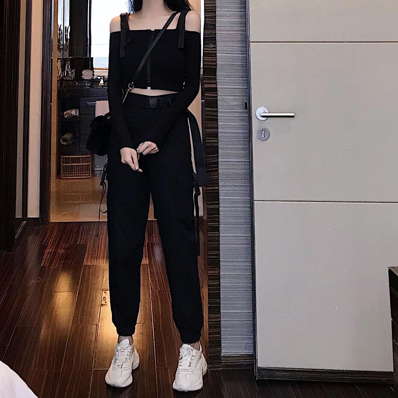 春装女2019新款高腰口袋嘻哈宽松束脚工装裤+背带露腰T恤女两件套