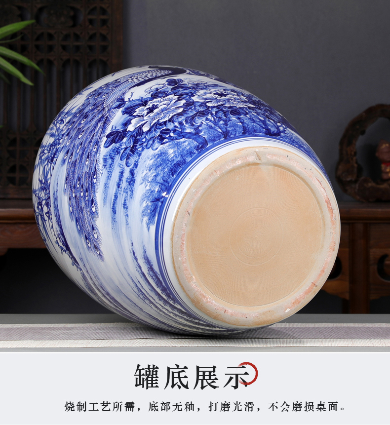 Peacock retro hand - made oversized caddy fixings puer tea cake store tea urn jingdezhen ceramic porcelain collection tank