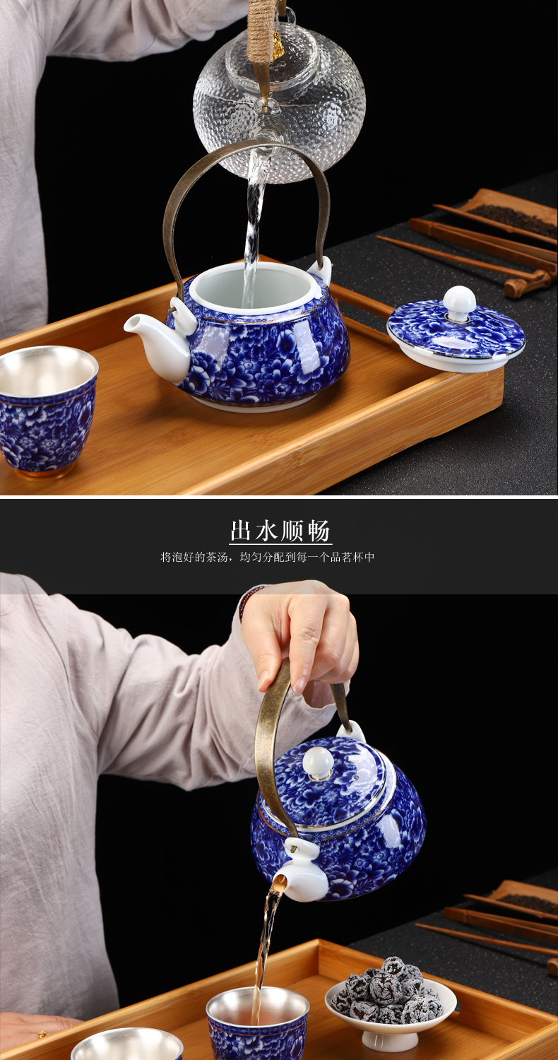 Recreational product is blue and white porcelain household ceramics coppering. As sterling silver 999 girder pot of tea cup teapot suits for bamboo tea tray tea set