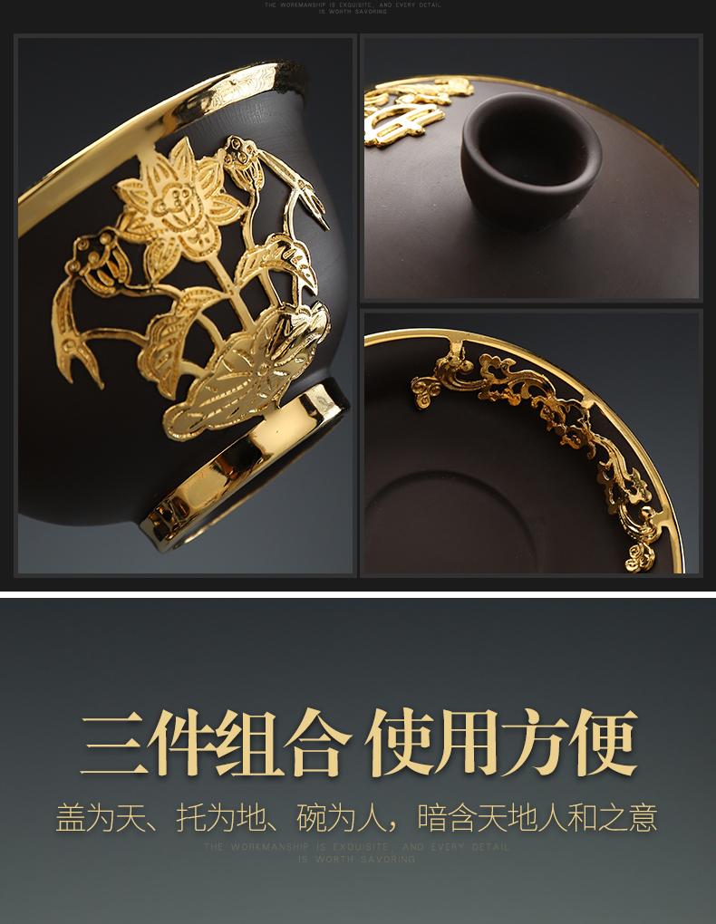 Recreational product three to an inset jades pure manual violet arenaceous tureen large cups kung fu tea tea tea tea bowl