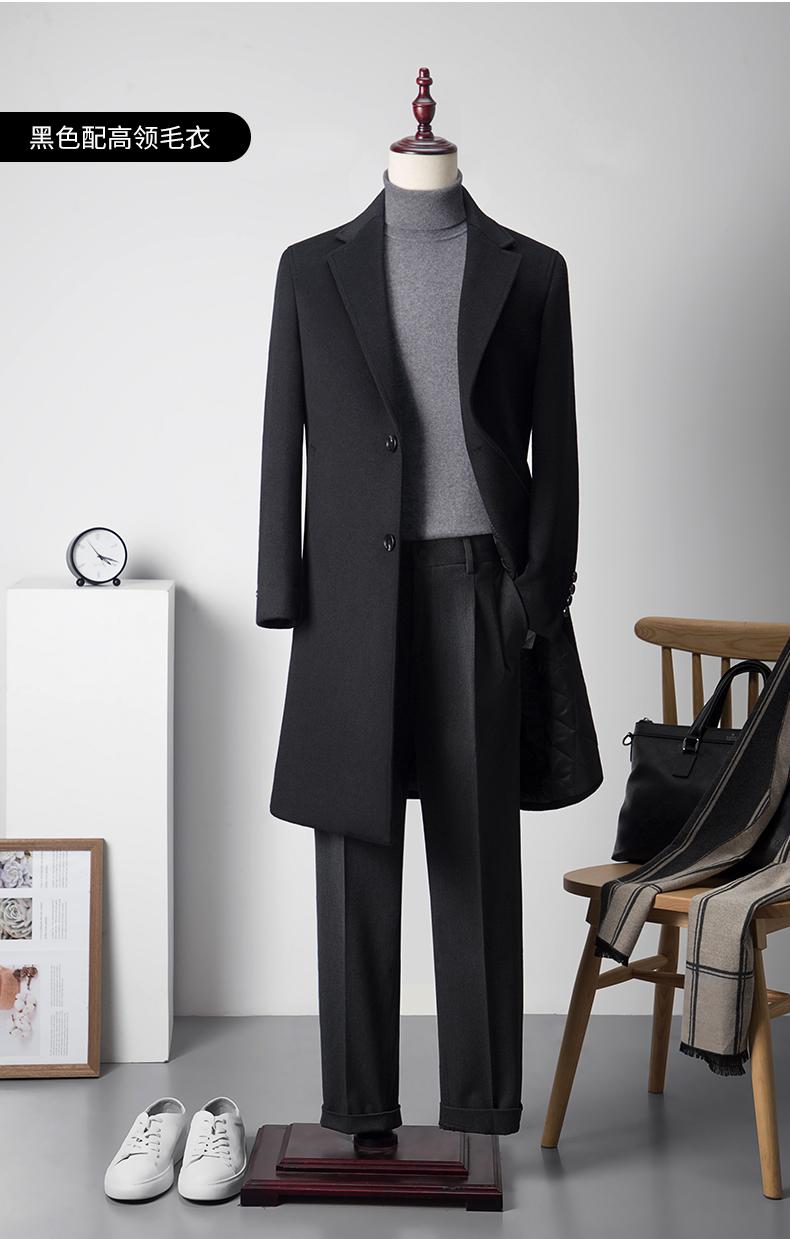 羊毛呢大衣男中长版商务工装加厚加棉修身秋冬款大尺码呢子风衣外套详细照片