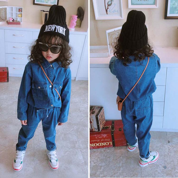 Bộ quần áo trẻ em 2018 cho bé gái mùa xuân và mùa thu mới áo sơ mi dài tay cho bé + quần jean bé nhỏ vừa và nhỏ - Quần jean