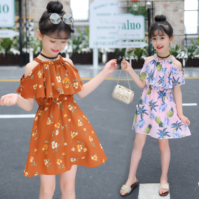 5b889e664 3 children 4 girls dress 5 Summer 2019 new princess skirt children short-sleeved  summer style 6-year-old girl