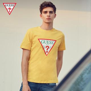 GUESS любителей мужской хлопок печать лить треугольник LOGO кожа круглый вырез с коротким рукавом T футболки -MJ2K9415K, цена 2028 руб