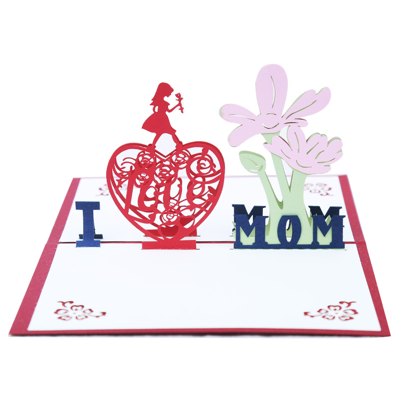 3d Three Dimensional Greeting Card I Love Mother Mothers Day To Send Mom Birthday Gift Thanksgiving Blessing Small