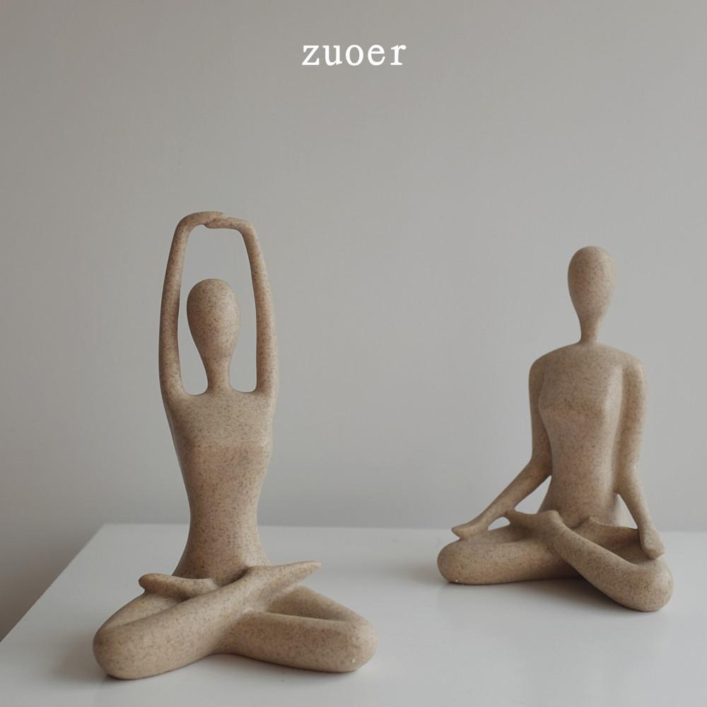 北欧创意家居装饰品 砂岩抽像瑜伽人物装饰摆件