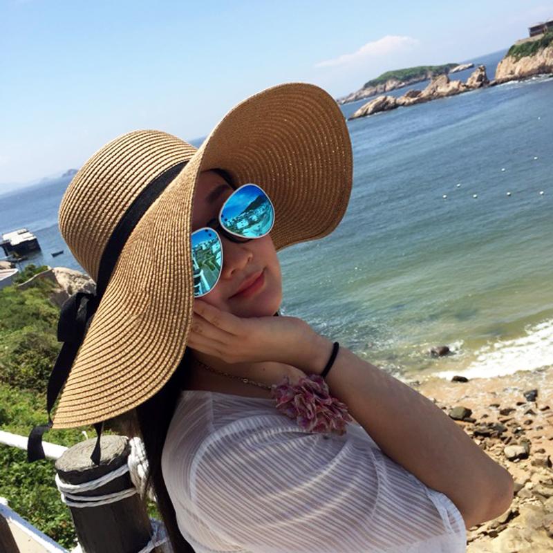 夏天草帽女大沿檐沙滩帽遮阳帽子凉帽可折叠防晒外线太阳帽海边