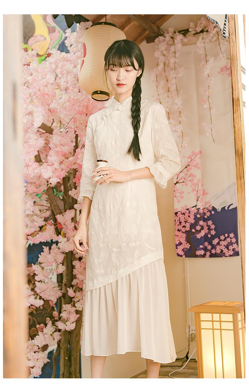 改良旗袍年轻款新式少女日常可穿夏装文艺气质洋装鱼尾长裙春季详细照片