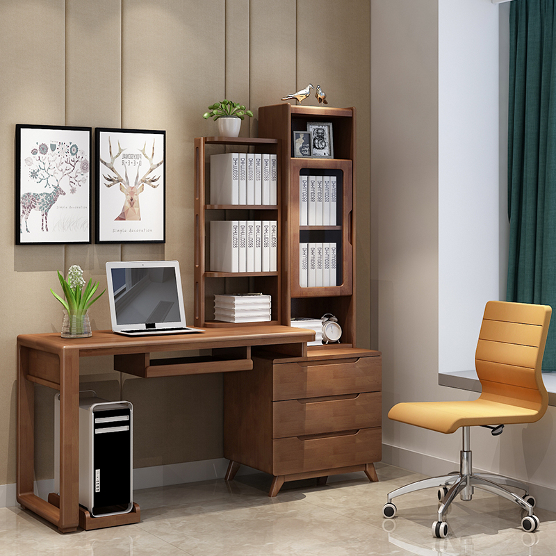 All Solid Wood Desk Bookshelf Combination Home Student Writing With Intelligent Adjustable LED Lamp Study Table