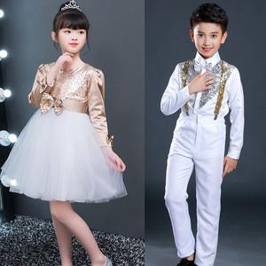 girls princess ballet chorus dresses Long sleeve children's chorus performance costumes for middle school students